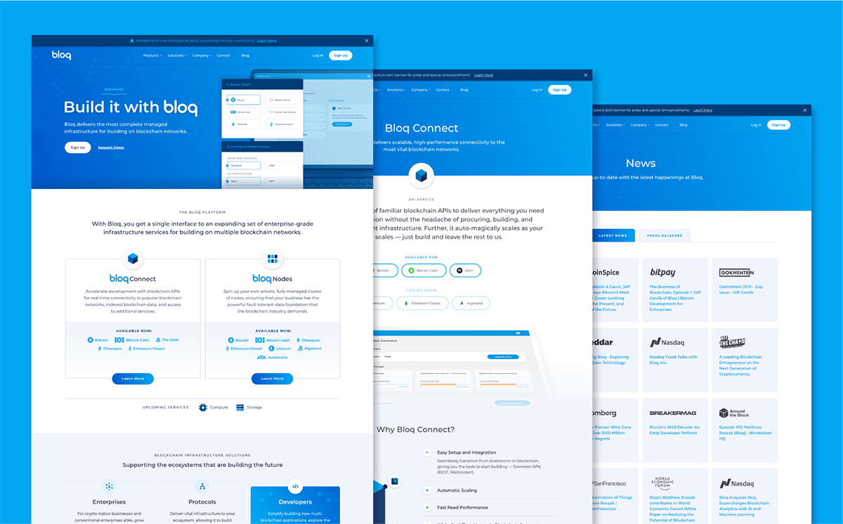 bloq website pages stacked